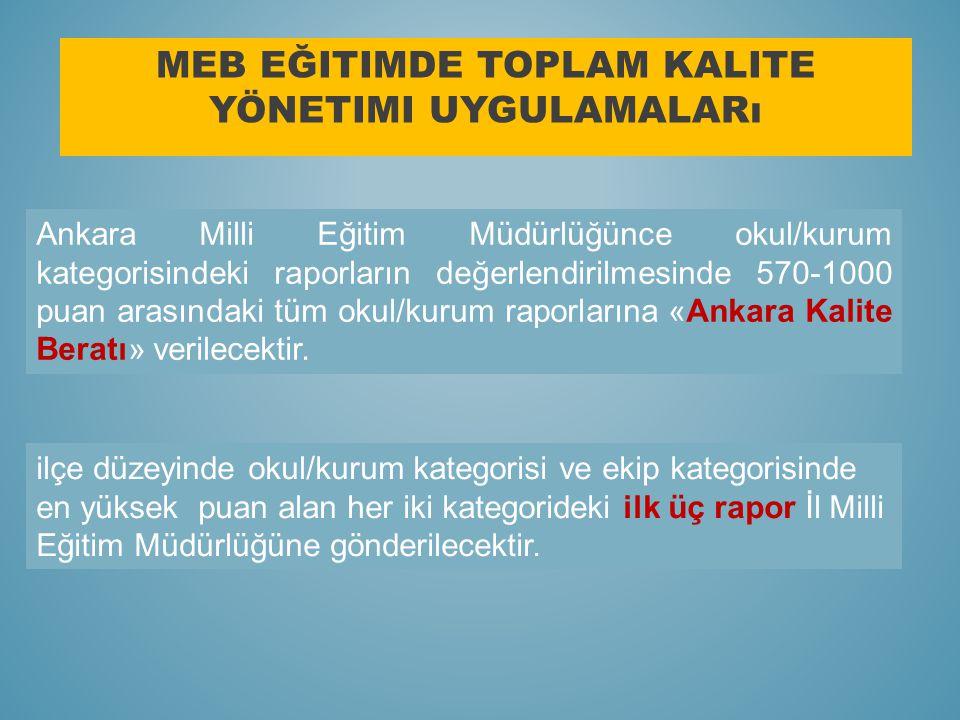 MEB EĞITIMDE TOPLAM KALITE YÖNETIMI UYGULAMALARı Ankara Milli Eğitim Müdürlüğünce okul/kurum kategorisindeki raporların değerlendirilmesinde 570-1000