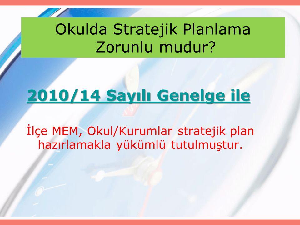 Okulda Stratejik Planlama Zorunlu mudur? 2010/14 Sayılı Genelge ile 2010/14 Sayılı Genelge ile İlçe MEM, Okul/Kurumlar stratejik plan hazırlamakla yük