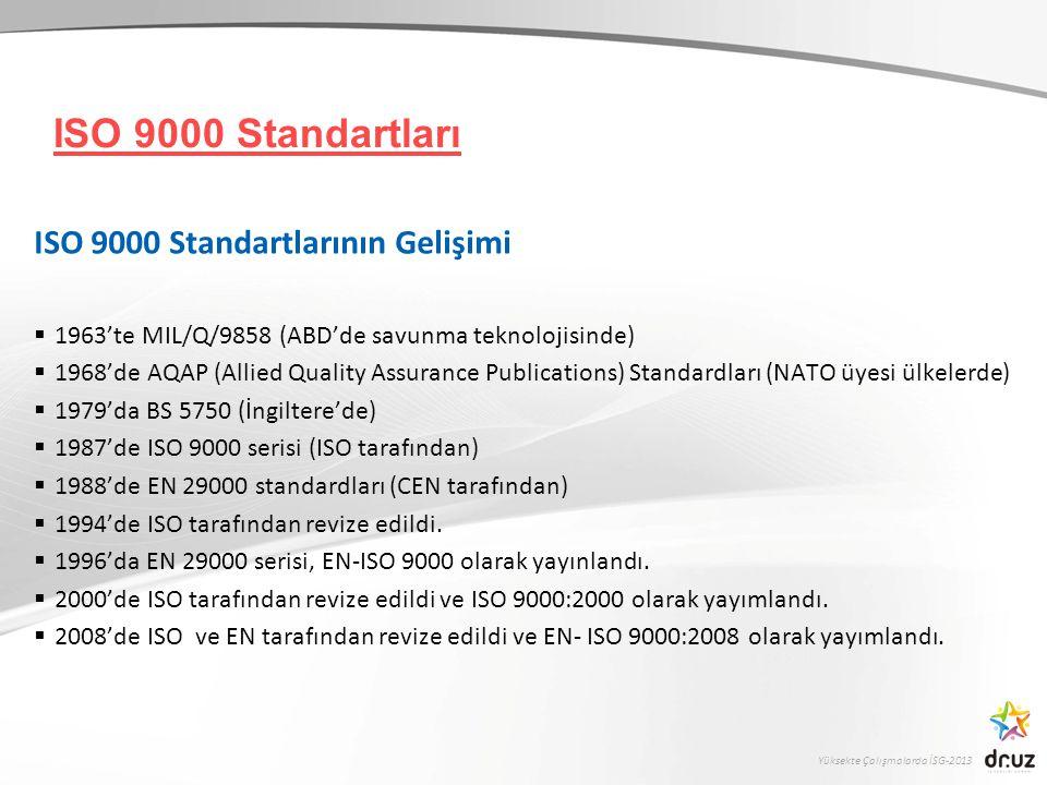 Yüksekte Çalışmalarda İSG-2013 EN-ISO 9000:2008 Serisi Üç temel standarttan oluşmaktadır: EN-ISO 9000:2008 Kalite Yönetim Sistemleri-Temel Kavramlar, Terimler EN-ISO 9001:2008 Kalite Yönetim Sistemleri-Şartlar EN-ISO 9004:2008 Kalite Yönetim Sistemi-Performansın İyileştirilmesi İçin Kılavuz