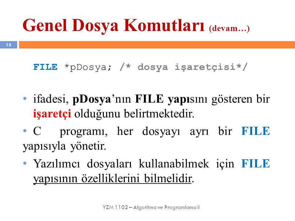 13 FILE *pDosya; /* dosya işaretçisi*/ ifadesi, pDosya'nın FILE yapısını gösteren bir işaretçi olduğunu belirtmektedir. C programı, her dosyayı ayrı b