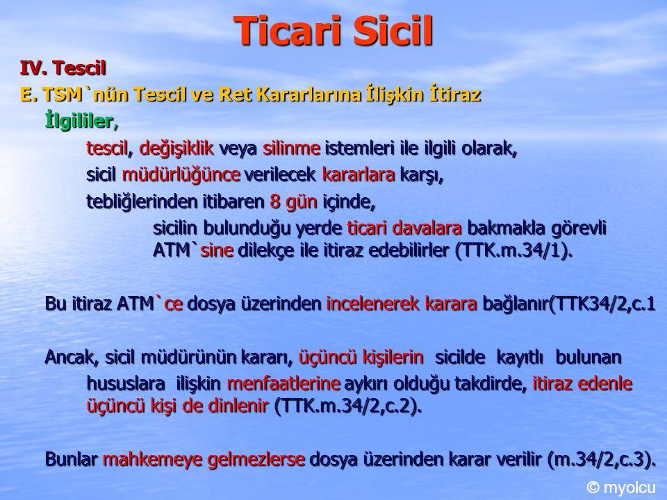 Ticari Sicil IV. Tescil E. TSM`nün Tescil ve Ret Kararlarına İlişkin İtiraz İlgililer, tescil, değişiklik veya silinme istemleri ile ilgili olarak, si