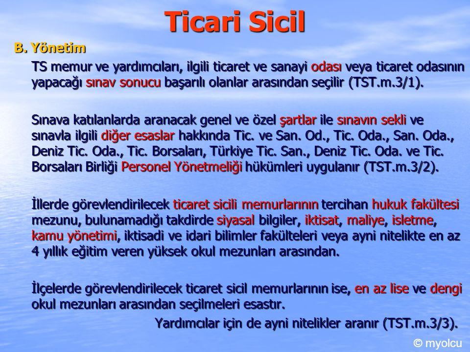 Ticari Sicil IV.Tescil E.