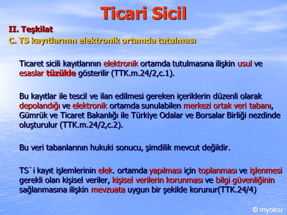 Ticari Sicil II. Teşkilat C. TS kayıtlarının elektronik ortamda tutulması Ticaret sicili kayıtlarının elektronik ortamda tutulmasına ilişkin usul ve e