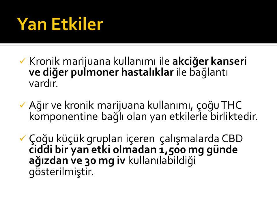 Kronik marijuana kullanımı ile akciğer kanseri ve diğer pulmoner hastalıklar ile bağlantı vardır.