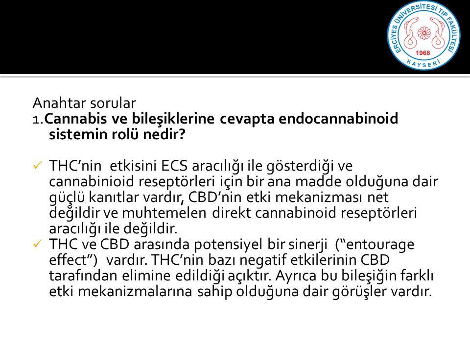 Anahtar sorular 1.Cannabis ve bileşiklerine cevapta endocannabinoid sistemin rolü nedir.