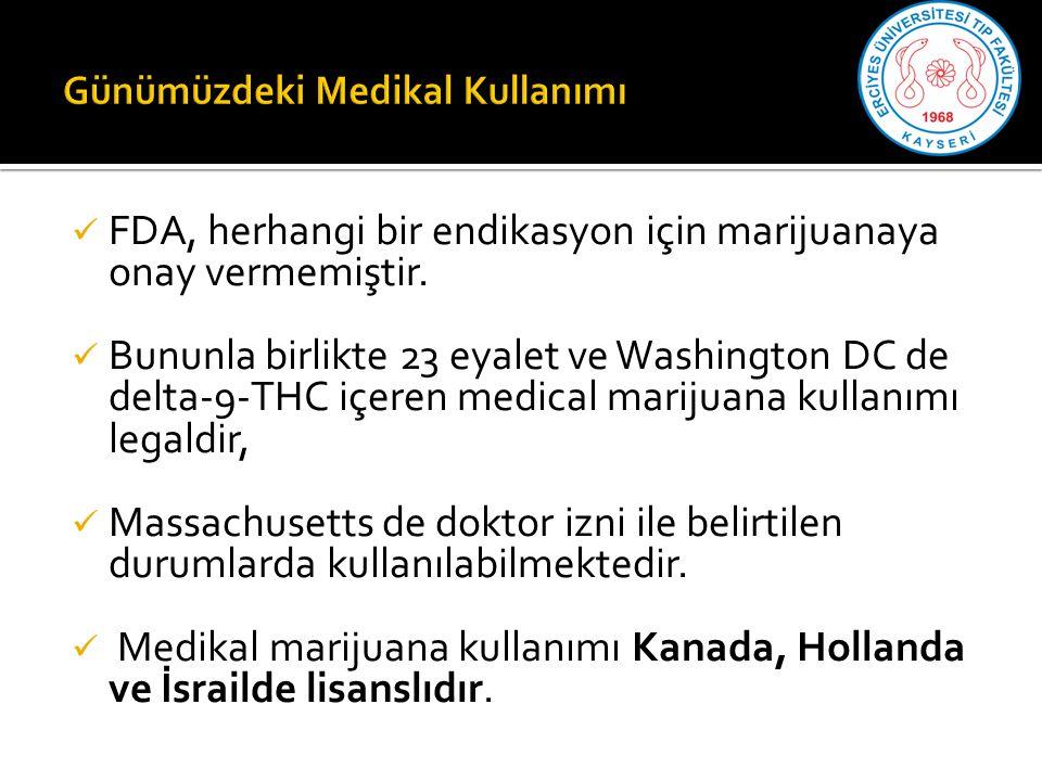 FDA, herhangi bir endikasyon için marijuanaya onay vermemiştir.