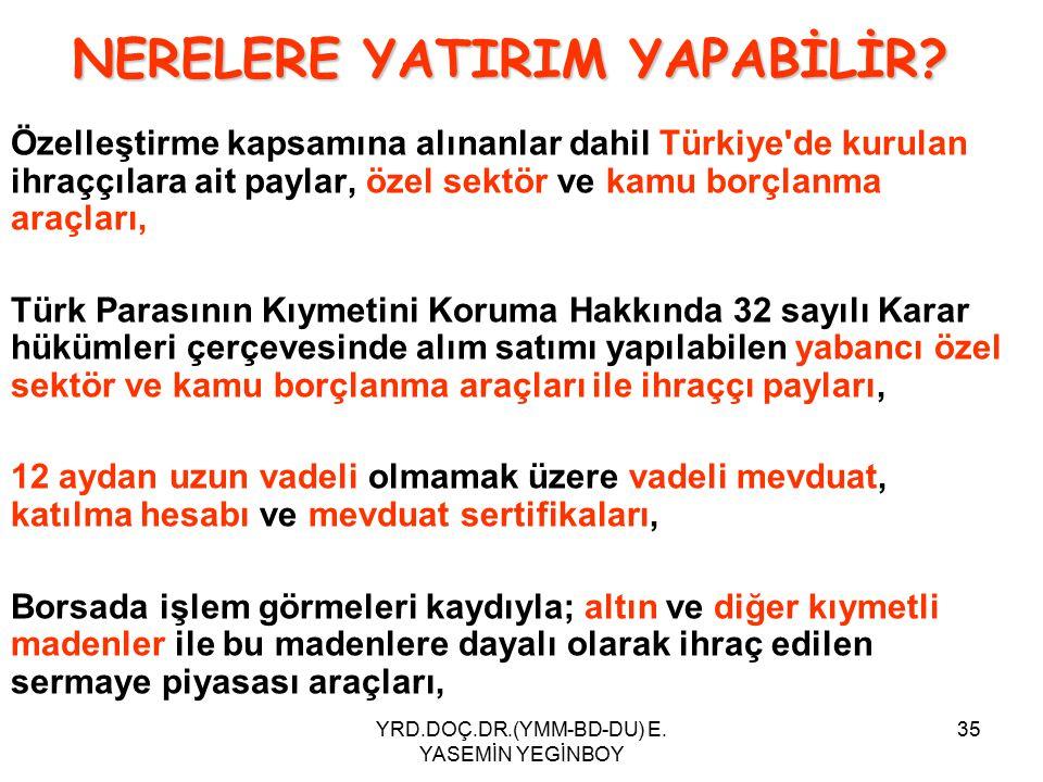 YRD.DOÇ.DR.(YMM-BD-DU) E. YASEMİN YEGİNBOY 35 Özelleştirme kapsamına alınanlar dahil Türkiye'de kurulan ihraççılara ait paylar, özel sektör ve kamu bo