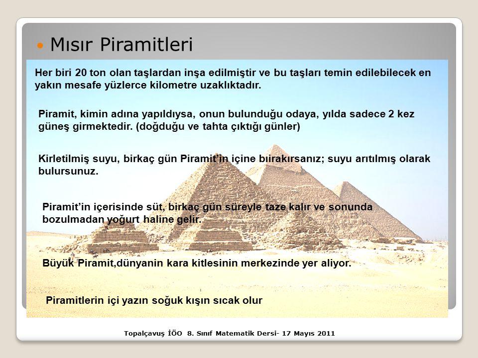 Mısır Piramitleri Topalçavuş İÖO 8. Sınıf Matematik Dersi- 17 Mayıs 2011 Her biri 20 ton olan taşlardan inşa edilmiştir ve bu taşları temin edilebilec