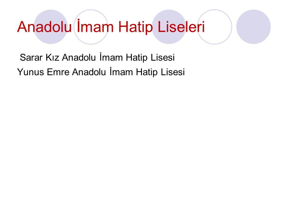 Anadolu İmam Hatip Liseleri Sarar Kız Anadolu İmam Hatip Lisesi Yunus Emre Anadolu İmam Hatip Lisesi