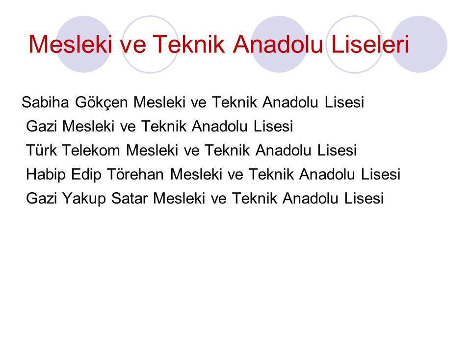 Mesleki ve Teknik Anadolu Liseleri Sabiha Gökçen Mesleki ve Teknik Anadolu Lisesi Gazi Mesleki ve Teknik Anadolu Lisesi Türk Telekom Mesleki ve Teknik