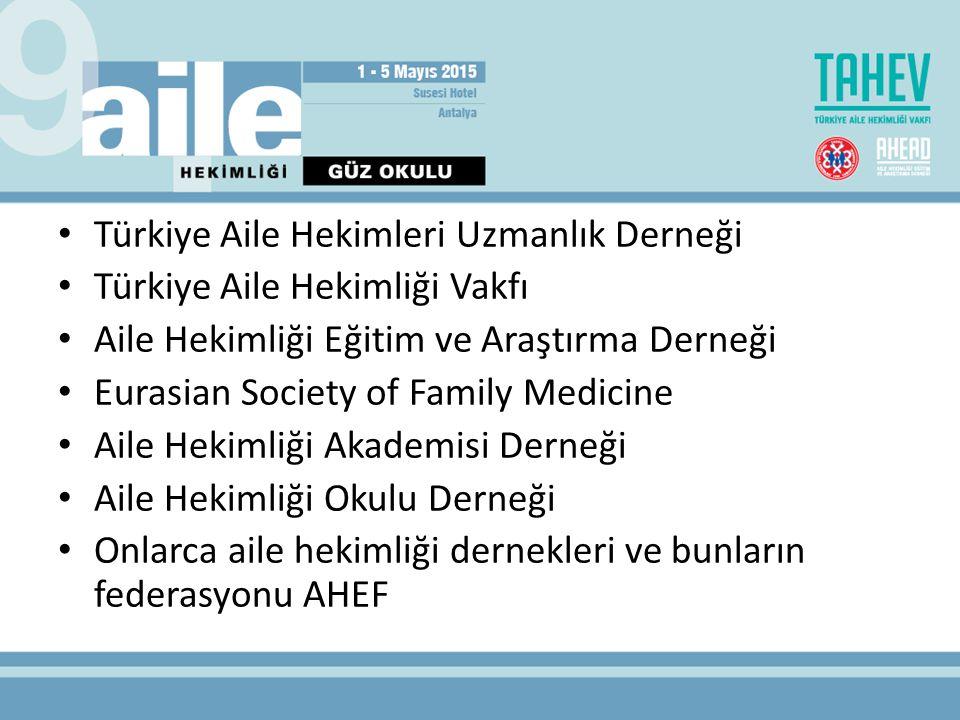 Türkiye Aile Hekimleri Uzmanlık Derneği Türkiye Aile Hekimliği Vakfı Aile Hekimliği Eğitim ve Araştırma Derneği Eurasian Society of Family Medicine Aile Hekimliği Akademisi Derneği Aile Hekimliği Okulu Derneği Onlarca aile hekimliği dernekleri ve bunların federasyonu AHEF
