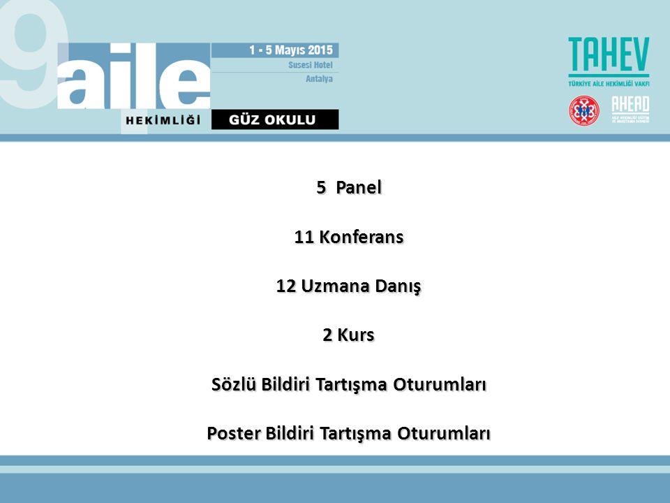 5 Panel 11 Konferans 12 Uzmana Danış 2 Kurs Sözlü Bildiri Tartışma Oturumları Poster Bildiri Tartışma Oturumları