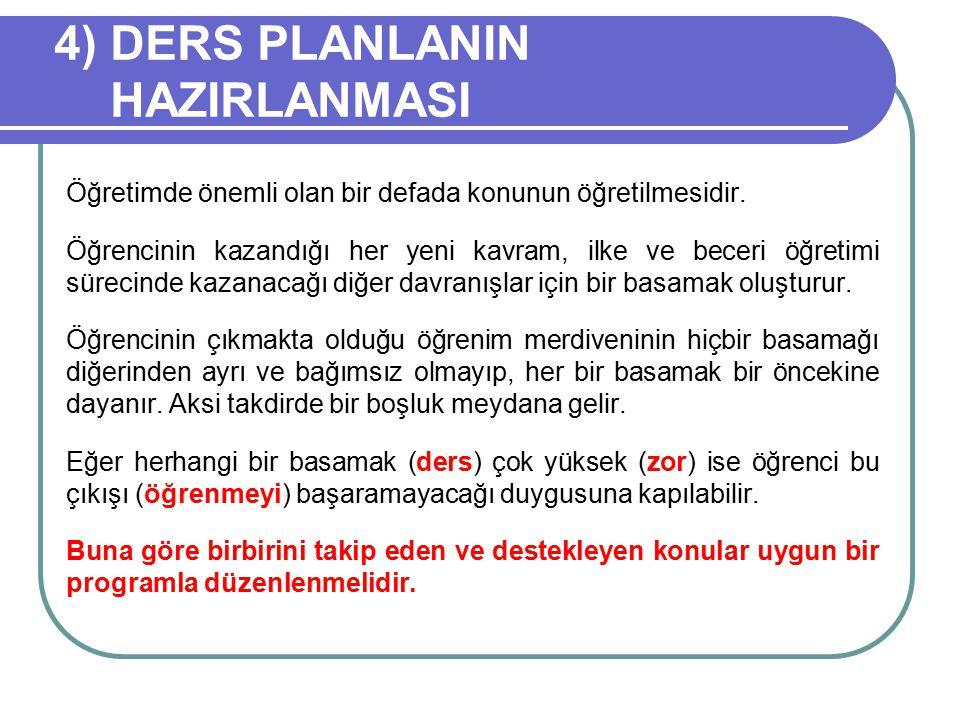 4) DERS PLANLANIN HAZIRLANMASI Öğretimde önemli olan bir defada konunun öğretilmesidir.