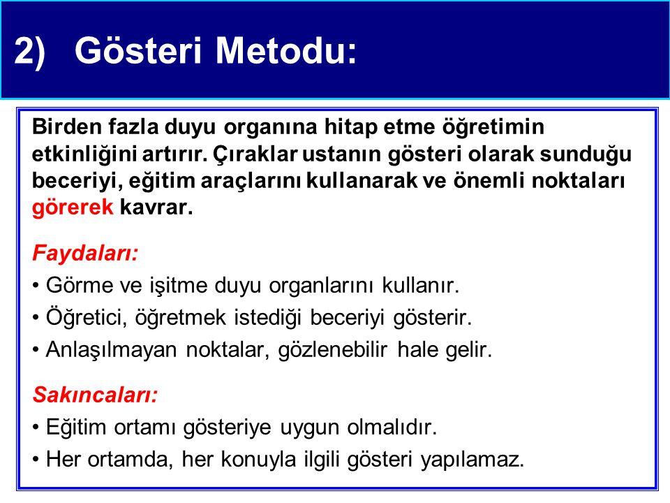 2)Gösteri Metodu: Birden fazla duyu organına hitap etme öğretimin etkinliğini artırır.