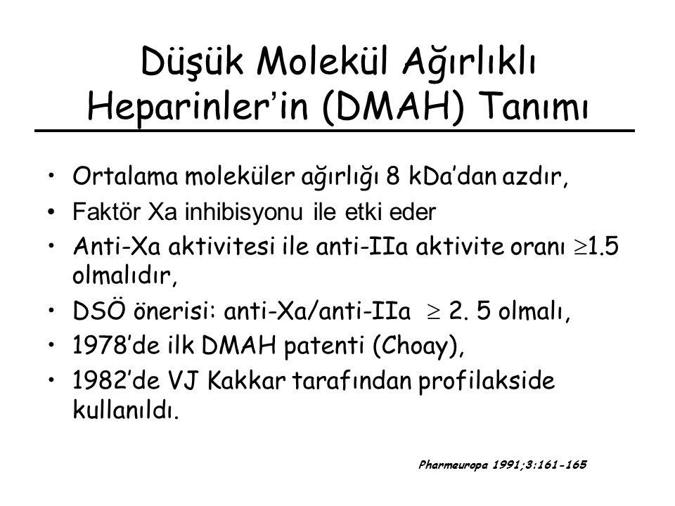 Düşük Molekül Ağırlıklı Heparinler ' in (DMAH) Tanımı Ortalama moleküler ağırlığı 8 kDa'dan azdır, Faktör Xa inhibisyonu ile etki eder Anti-Xa aktivit