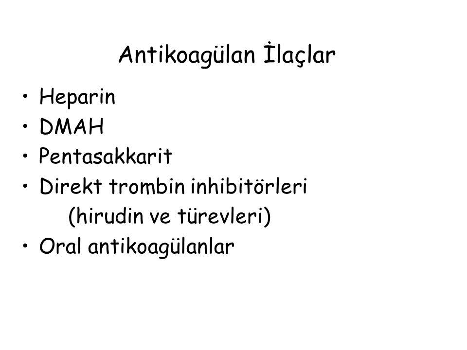 Antikoagülan İlaçlar Heparin DMAH Pentasakkarit Direkt trombin inhibitörleri (hirudin ve türevleri) Oral antikoagülanlar