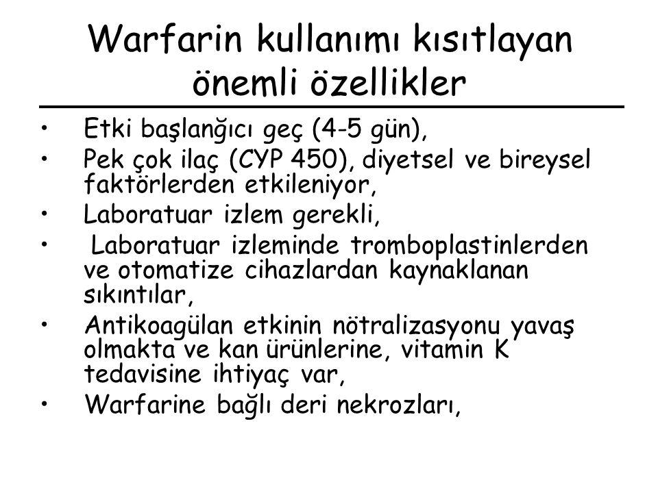 Warfarin kullanımı kısıtlayan önemli özellikler Etki başlanğıcı geç (4-5 gün), Pek çok ilaç (CYP 450), diyetsel ve bireysel faktörlerden etkileniyor,