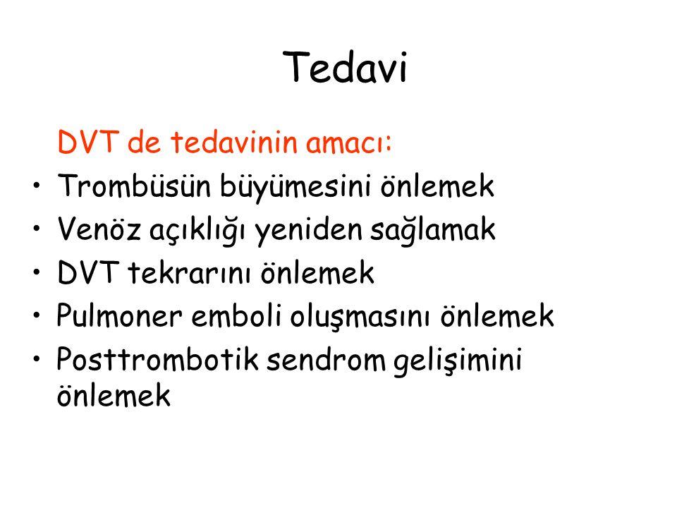 Tedavi DVT de tedavinin amacı: Trombüsün büyümesini önlemek Venöz açıklığı yeniden sağlamak DVT tekrarını önlemek Pulmoner emboli oluşmasını önlemek P