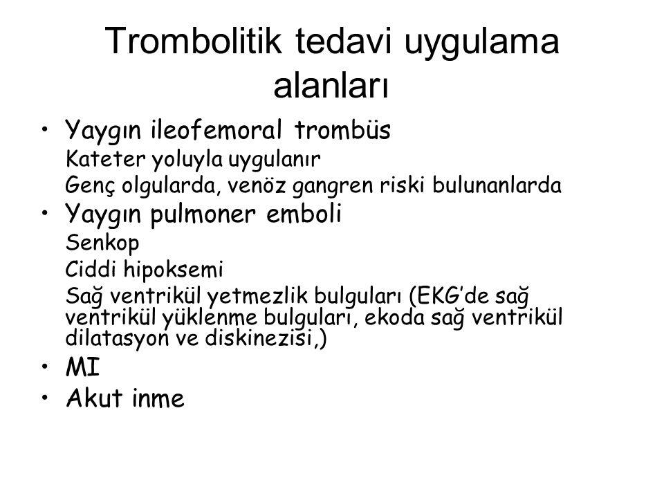 Trombolitik tedavi uygulama alanları Yaygın ileofemoral trombüs Kateter yoluyla uygulanır Genç olgularda, venöz gangren riski bulunanlarda Yaygın pulm