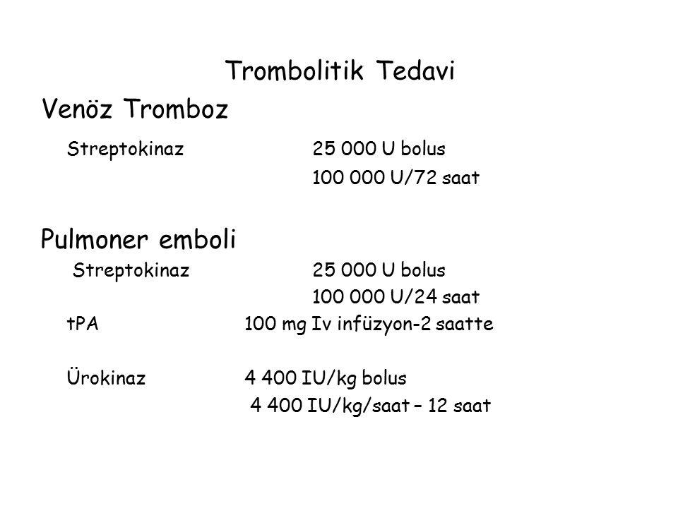 Trombolitik Tedavi Venöz Tromboz Streptokinaz25 000 U bolus 100 000 U/72 saat Pulmoner emboli Streptokinaz25 000 U bolus 100 000 U/24 saat tPA100 mg I