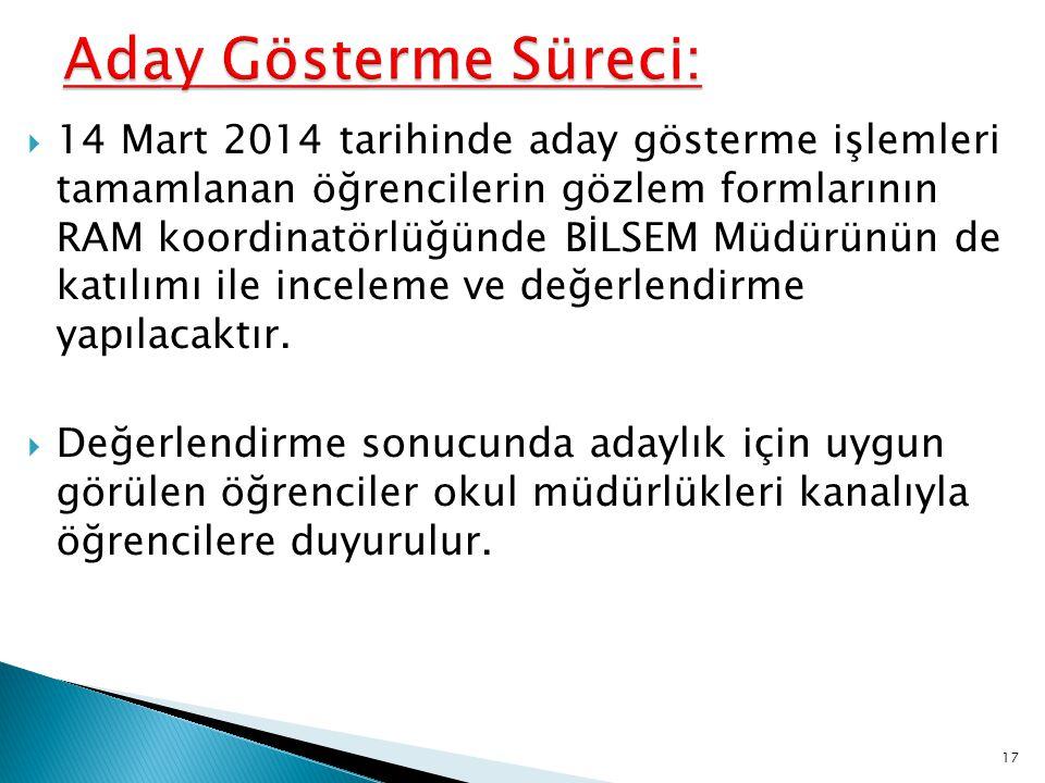  14 Mart 2014 tarihinde aday gösterme işlemleri tamamlanan öğrencilerin gözlem formlarının RAM koordinatörlüğünde BİLSEM Müdürünün de katılımı ile in