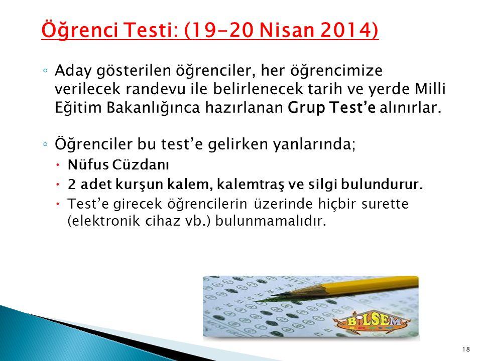 Öğrenci Testi: (19-20 Nisan 2014) ◦ Aday gösterilen öğrenciler, her öğrencimize verilecek randevu ile belirlenecek tarih ve yerde Milli Eğitim Bakanlı