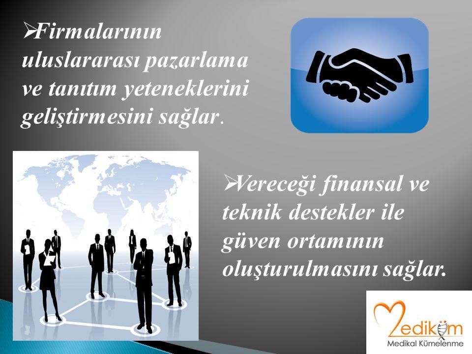  Firmalarının uluslararası pazarlama ve tanıtım yeteneklerini geliştirmesini sağlar.  Vereceği finansal ve teknik destekler ile güven ortamının oluş