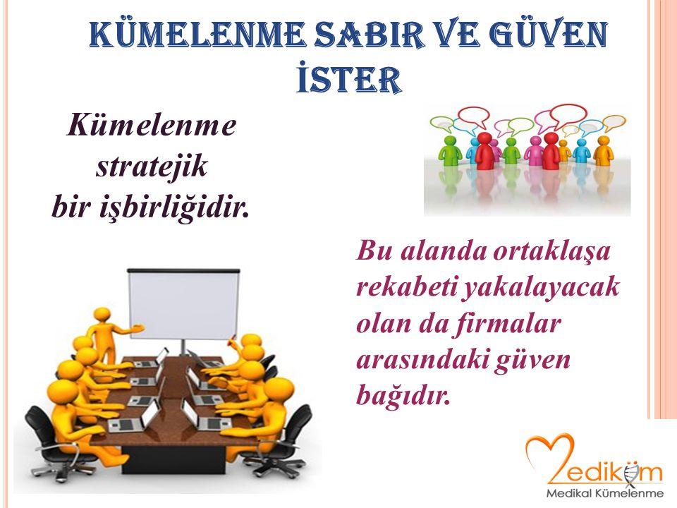 KÜMELENME SABIR VE GÜVEN İ STER Kümelenme stratejik bir işbirliğidir.