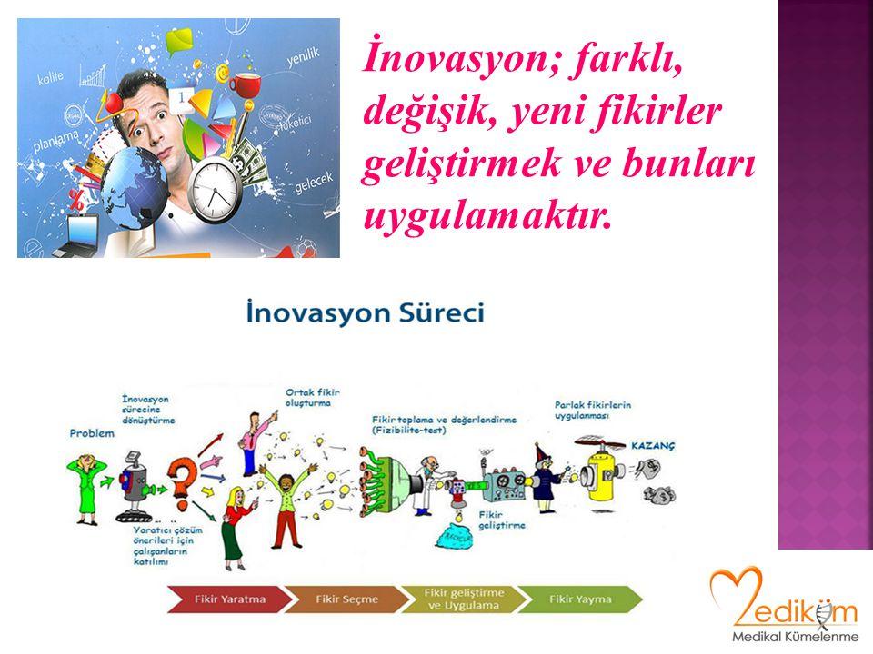 İnovasyon; farklı, değişik, yeni fikirler geliştirmek ve bunları uygulamaktır.
