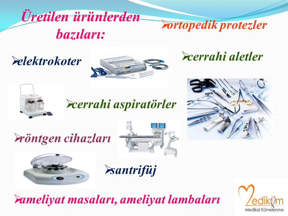 Üretilen ürünlerden bazıları:  elektrokoter  ameliyat masaları, ameliyat lambaları  cerrahi aspiratörler  röntgen cihazları  santrifüj  ortopedik protezler  cerrahi aletler