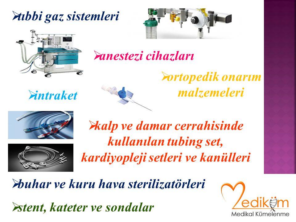  anestezi cihazları  buhar ve kuru hava sterilizatörleri  tıbbi gaz sistemleri  kalp ve damar cerrahisinde kullanılan tubing set, kardiyopleji setleri ve kanülleri  intraket  stent, kateter ve sondalar  ortopedik onarım malzemeleri