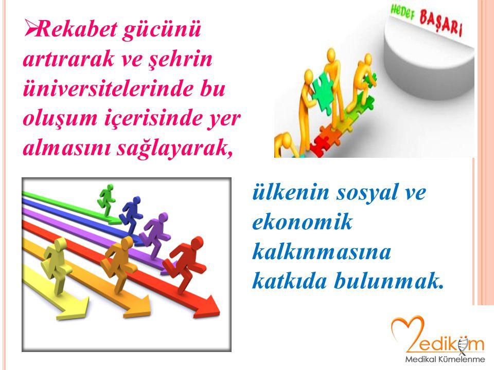  Rekabet gücünü artırarak ve şehrin üniversitelerinde bu oluşum içerisinde yer almasını sağlayarak, ülkenin sosyal ve ekonomik kalkınmasına katkıda bulunmak.