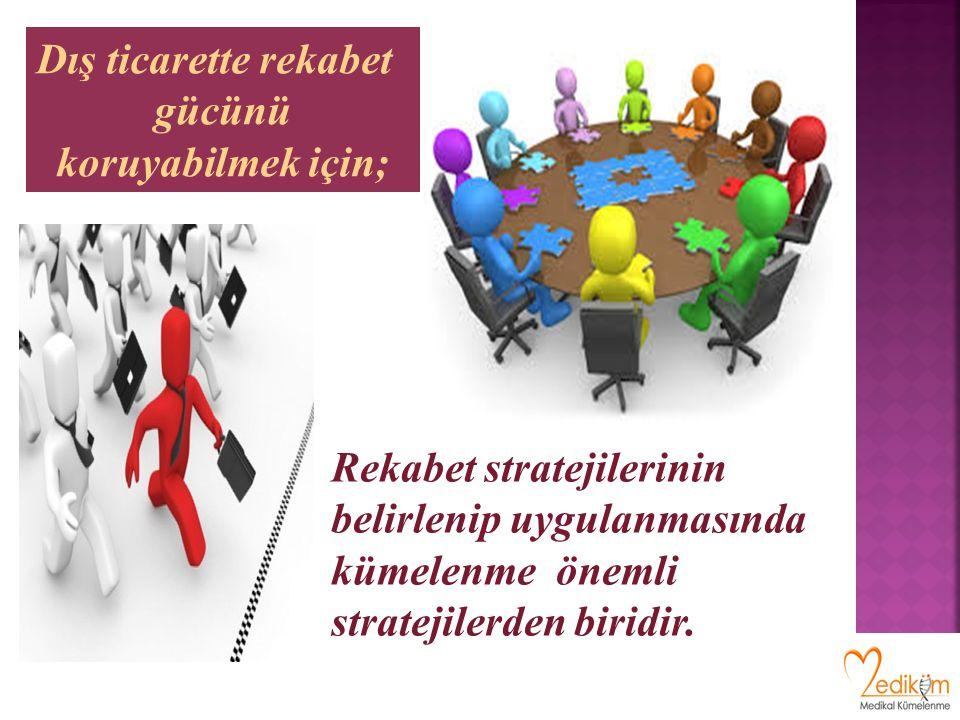 Rekabet stratejilerinin belirlenip uygulanmasında kümelenme önemli stratejilerden biridir. Dış ticarette rekabet gücünü koruyabilmek için;