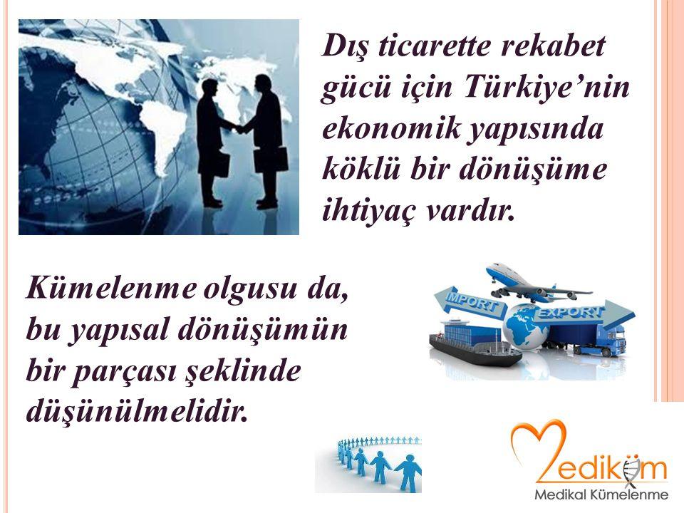 Dış ticarette rekabet gücü için Türkiye'nin ekonomik yapısında köklü bir dönüşüme ihtiyaç vardır. Kümelenme olgusu da, bu yapısal dönüşümün bir parças
