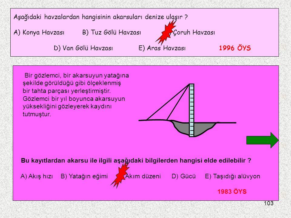 103 Aşağıdaki havzalardan hangisinin akarsuları denize ulaşır ? A) Konya Havzası B) Tuz Gölü Havzası C) Çoruh Havzası D) Van Gölü Havzası E) Aras Havz
