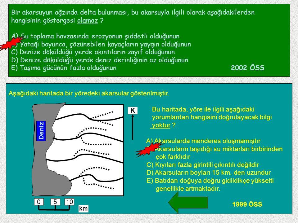 105 Bir akarsuyun ağzında delta bulunması, bu akarsuyla ilgili olarak aşağıdakilerden hangisinin göstergesi olamaz ? A) Su toplama havzasında erozyonu
