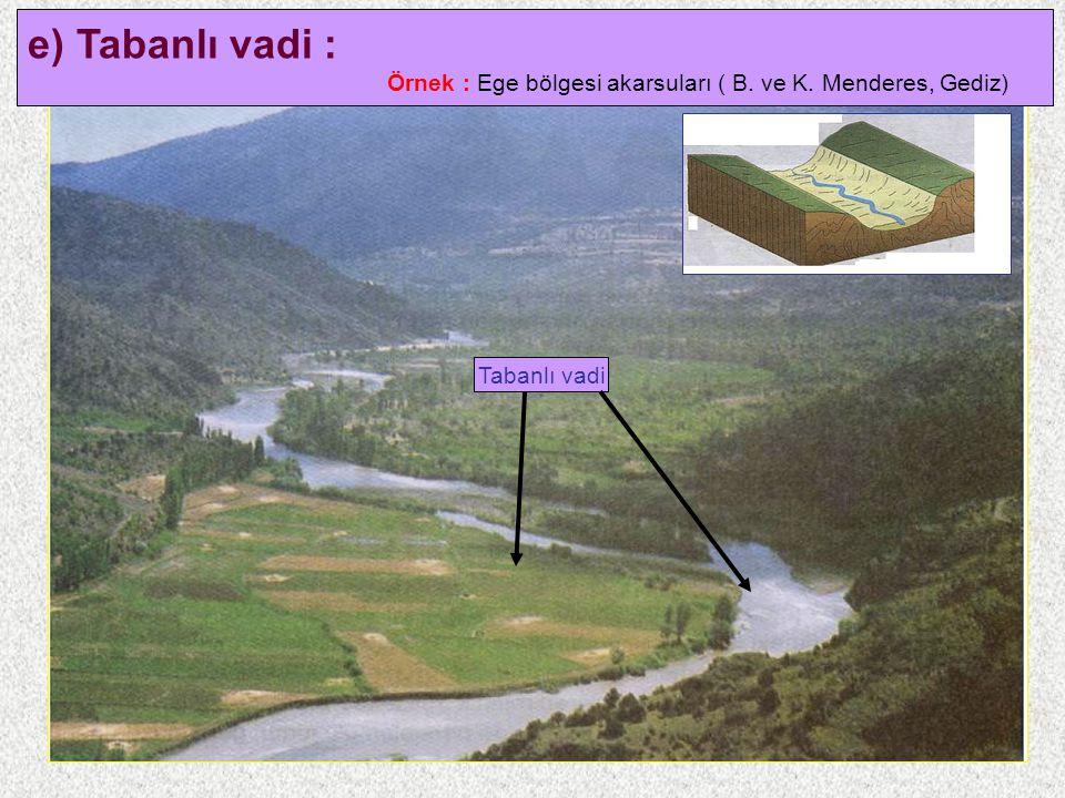 14 e) Tabanlı vadi : Örnek : Ege bölgesi akarsuları ( B. ve K. Menderes, Gediz) Tabanlı vadi