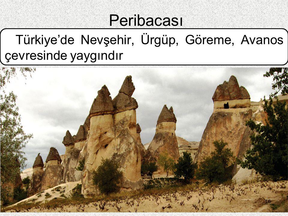 16 Peribacası Türkiye'de Nevşehir, Ürgüp, Göreme, Avanos çevresinde yaygındır 16