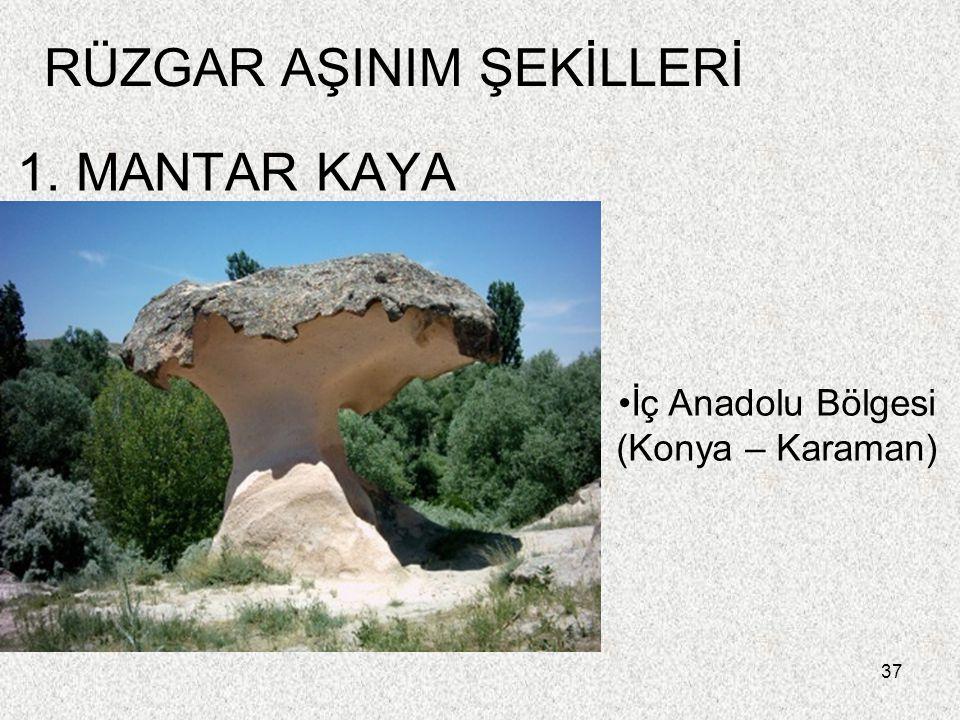 37 1. MANTAR KAYA RÜZGAR AŞINIM ŞEKİLLERİ İç Anadolu Bölgesi (Konya – Karaman)
