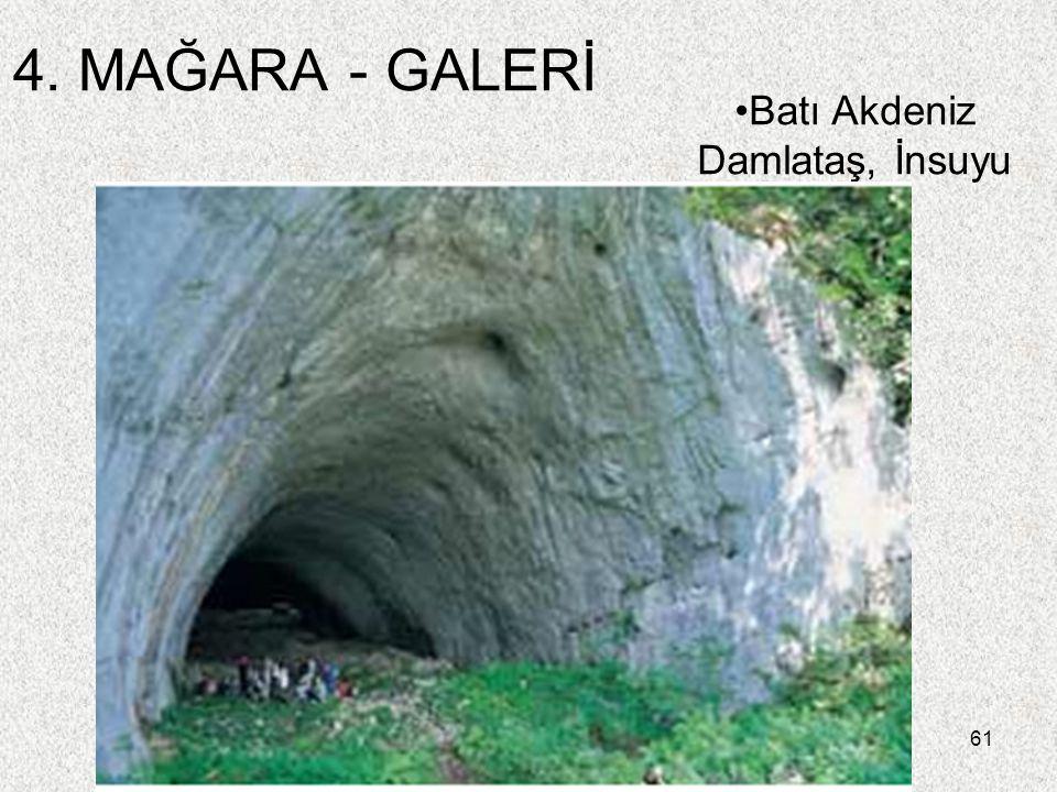 61 4. MAĞARA - GALERİ Batı Akdeniz Damlataş, İnsuyu