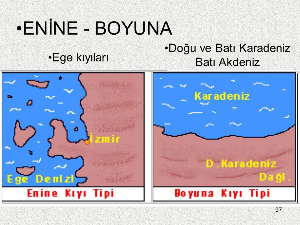 97 ENİNE - BOYUNA Ege kıyıları Doğu ve Batı Karadeniz Batı Akdeniz