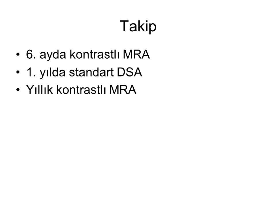 Takip 6. ayda kontrastlı MRA 1. yılda standart DSA Yıllık kontrastlı MRA