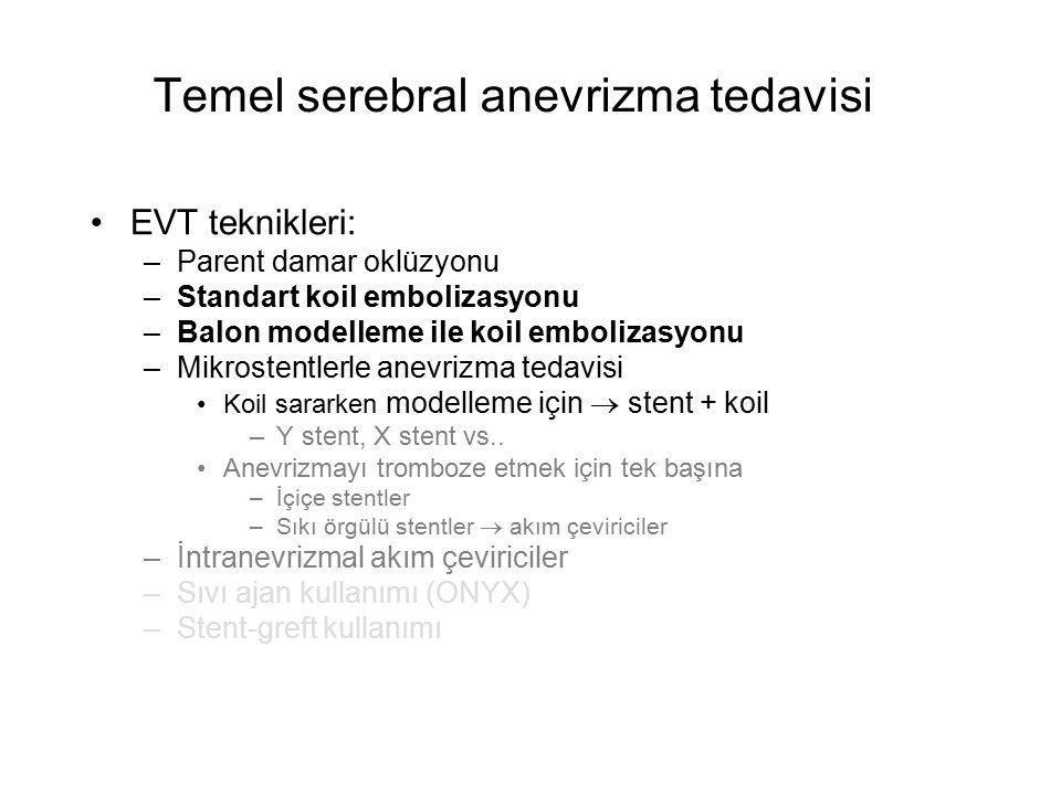 Temel serebral anevrizma tedavisi EVT teknikleri: –Parent damar oklüzyonu –Standart koil embolizasyonu –Balon modelleme ile koil embolizasyonu –Mikros