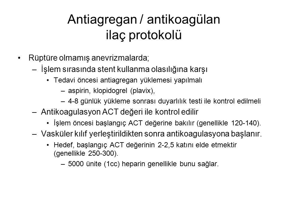 Antiagregan / antikoagülan ilaç protokolü Rüptüre olmamış anevrizmalarda; –İşlem sırasında stent kullanma olasılığına karşı Tedavi öncesi antiagregan