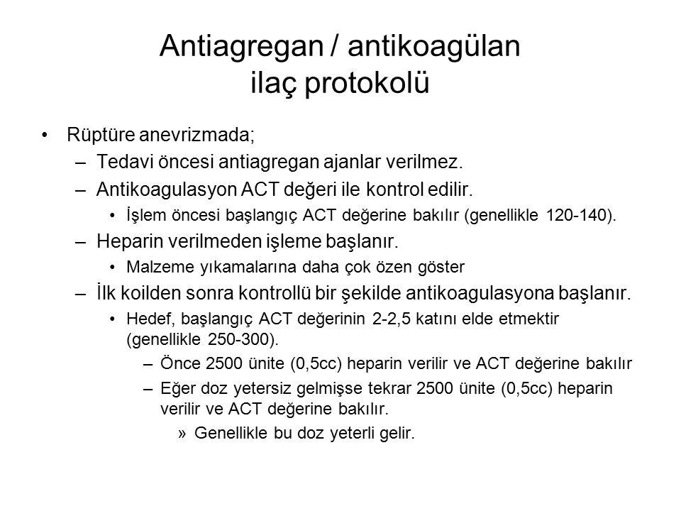 Antiagregan / antikoagülan ilaç protokolü Rüptüre anevrizmada; –Tedavi öncesi antiagregan ajanlar verilmez. –Antikoagulasyon ACT değeri ile kontrol ed