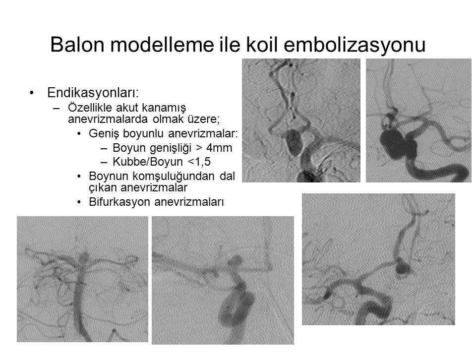 Balon modelleme ile koil embolizasyonu Endikasyonları: –Özellikle akut kanamış anevrizmalarda olmak üzere; Geniş boyunlu anevrizmalar: –Boyun genişliğ