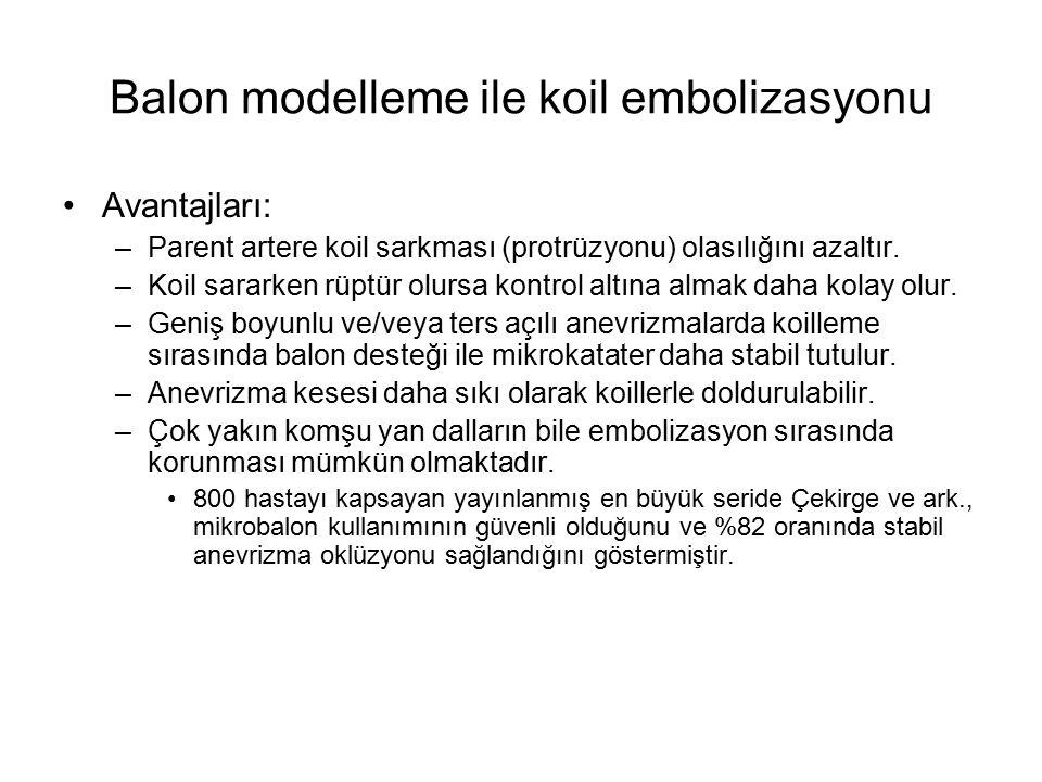 Balon modelleme ile koil embolizasyonu Avantajları: –Parent artere koil sarkması (protrüzyonu) olasılığını azaltır. –Koil sararken rüptür olursa kontr