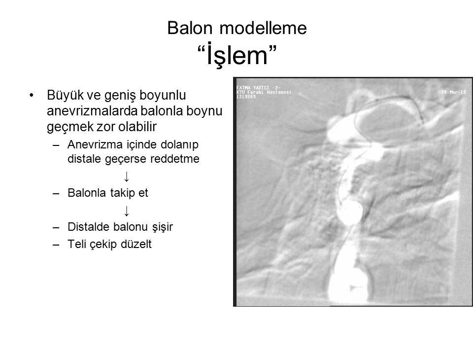 """Balon modelleme """"İşlem"""" Büyük ve geniş boyunlu anevrizmalarda balonla boynu geçmek zor olabilir –Anevrizma içinde dolanıp distale geçerse reddetme ↓ –"""
