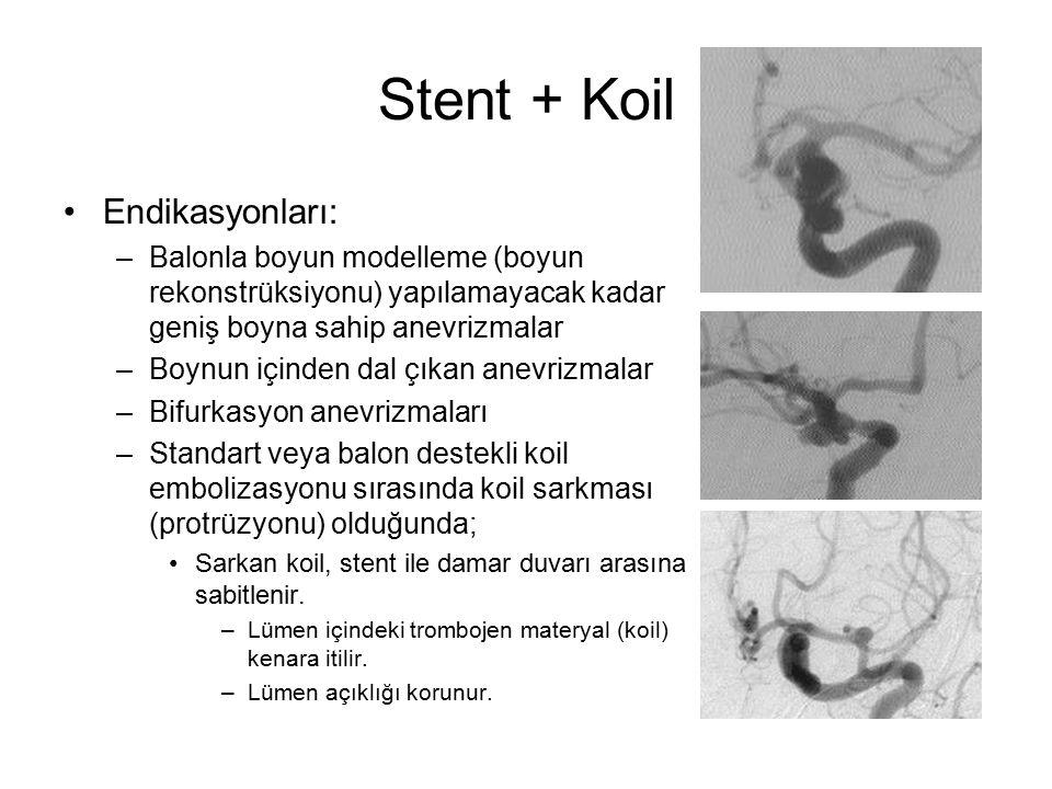 Stent + Koil Endikasyonları: –Balonla boyun modelleme (boyun rekonstrüksiyonu) yapılamayacak kadar geniş boyna sahip anevrizmalar –Boynun içinden dal