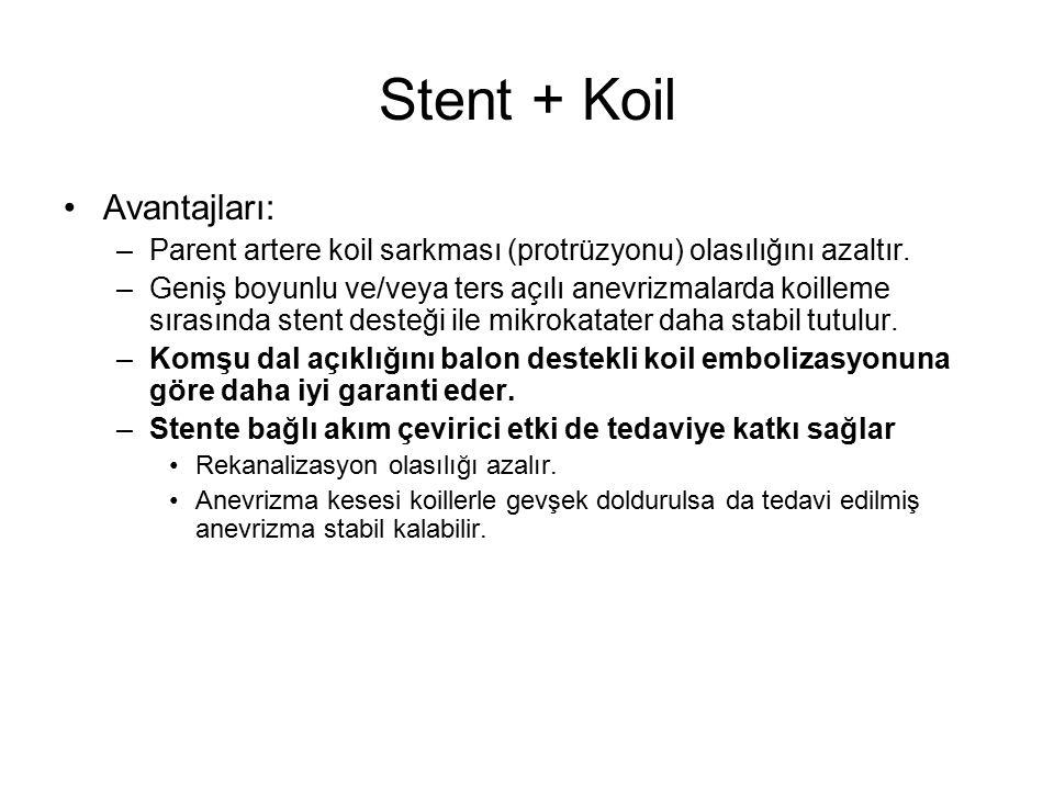 Stent + Koil Avantajları: –Parent artere koil sarkması (protrüzyonu) olasılığını azaltır. –Geniş boyunlu ve/veya ters açılı anevrizmalarda koilleme sı